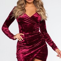 Cece Velvet Dress - Burgundy