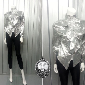 Vintage 70s Metallic Silver Poet Shirt Prairie Blouse Disco Top New Romantic Ruffle Neck Lame Shirt Boho High Neck Long Sleeves David Bowie