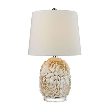 Natural Shell Table Lamp With Off White Linen Shade Shell