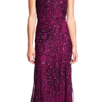 Adrianna Papell - AP1E200209 Sleeveless Beaded Floral Evening Gown