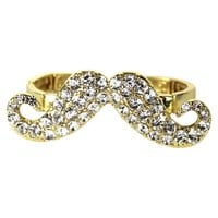 2 Finger Glass Stone Mustache Stretch Ring - Gold