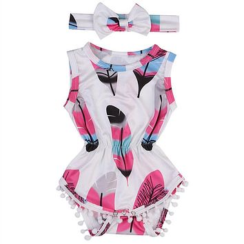 Newborn Baby Girl  Tassel Romper Jumpsuit +Headband Infant Clothes Outfit