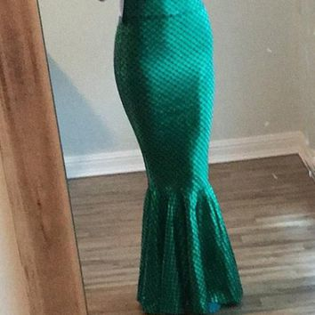 New Green Sequin Pleated Mermaid Scale High Waisted Elegant Fashion Party Long Skirt