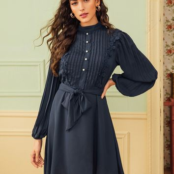 Button Front Lace Trim Pleated Belted Dress