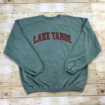 Vintage 90s Embroidered Lake Tahoe Faded Green Crewneck Sweatshirt Mens Size XL