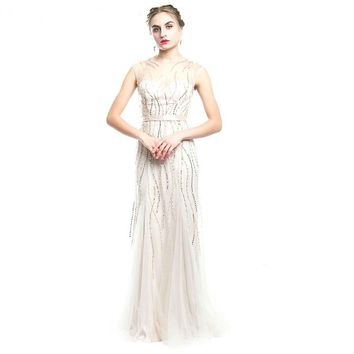 Sequined beige tulle sleeveless dress perspective Floor-Length Mermaid party gown