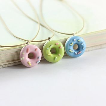New Mode Style Cute Lovely Donuts Fresh Ceramic Pendant Necklace For Girls Best Friends Handmade Resin Charm Jewelry Cool Gifts