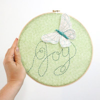 Butterfly Embroidery Hoop Art  Joy Flutters In  by BabyJivesCo