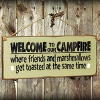 Wood Camping Sign ~ Welcome To Our Campfire ~ Campsite Decor
