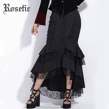 Rosetic Gothic Mermaid Skirt Women Autumn Black Lace Goth Trumpet Bottoms Fishtail Fashion Bodycon Vintage Gothic Mermaid Skirts