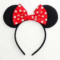 Mickey Mouse Ears Classic Minnie Mouse Ears Headband Cute Red Minnie Mouse Bow Polkadot Minnie Mouse Headband Minnie Ears Mickey Ears White
