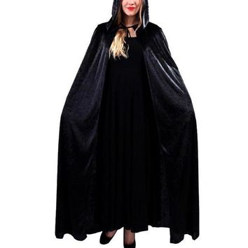 Halloween Costume Hooded Death Elf Magician Witch Cloak Masquerade Party Cosplay Clothes For Adul Red Blue Black Purple