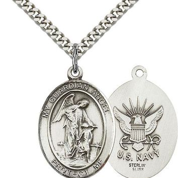 925 Sterling Silver Guardian Angel Navy Military Soldier Catholic Medal Necklace