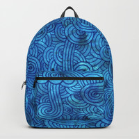 Turquoise blue swirls doodles Backpacks by Savousepate