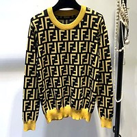 FENDI Autumn Winter Fashion Women Casual F Letter Jacquard Long Sleeve Round Collar Knit Sweater Pullover Top Sweatshirt Black
