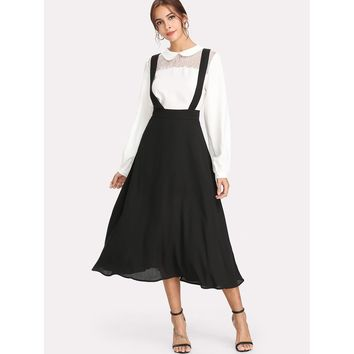 Thick Strap Pinafore Skirt