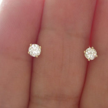 Vintage 1/3 ct Diamond Stud Earrings 14kt Solid Gold VS Clarity Pierced Ears Butterfly Backs