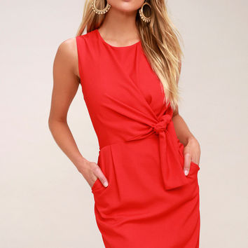 Zealous Love Red Tie-Front Midi Dress