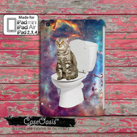 Cat On A Toilet Flying Through A Galaxy In Space Funny Kitty Tumblr Inspired Custom iPad Mini, iPad 2/3/4 and iPad Air Case Cover
