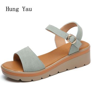 Women Sandals 2017 Summer Genuine Leather Shoes Woman Flip Flops Wedges Fashion Platform Female Slides Ladies Shoes Peep Toe