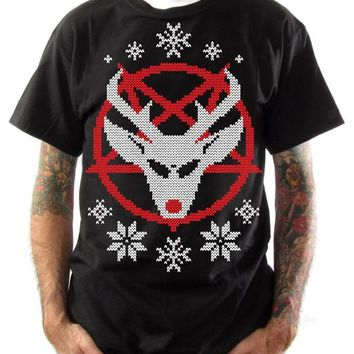Ugly Christmas Sweater Tees - Satan's Reindeer
