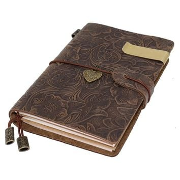 Traveler Notebook 100% handcrafted Vintage Leather Flowers Embossed 5.3 X 4 Inch Journal Customizable & Refillable