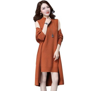 Cardigan Coat + Dress 2 Pieces Elegant Long Knitted Sweater Slim Dress Casual Loose Fashion Jumper Coat Solid Color