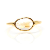Pale Yellow Citrine Gold Stacking Ring - Rachael Ryen Jewelry