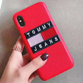 TOMMY New fashion embroidery letter couple protective cover phone case