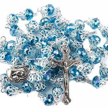 Turquoise Crystal Beads Rosary Holy Soil Medal & Cross
