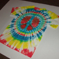 Shining Peace Sign Tie Dye TShirt  Adult Medium by OriginalAccents