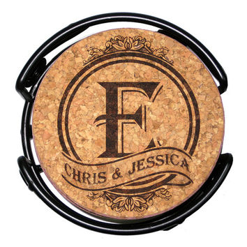 Personalized Monogram-Initial Cork Coaster Set
