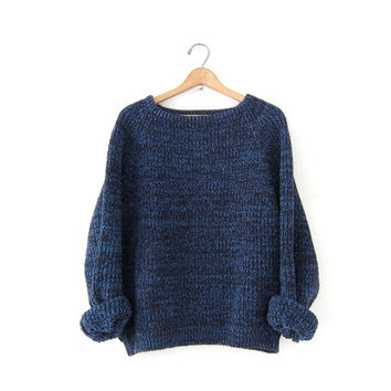 vintage speckled sweater. chunky thick knit sweater. boxy boyfriend sweater.