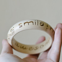 Smile More You Are Awesome - Wood Quote Bangle - Woodburned Inspiration Bracelet - Boho Mehndi Pyrography Jewelry