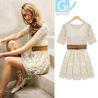 Promotion Women Summer Fashion Sexy Short Sleeve Lace Mini Vintage Elegant