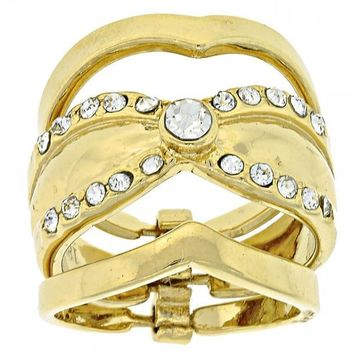 Gold Layered Wedding Ring, Triple Design, with Crystal, Gold Tone