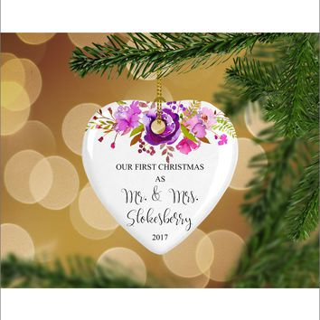 Personalized Floral Our First Christmas as Mr. & Mrs. Christmas Ornament- Wedding Ornament - Christmas Gift Ideas - HO0010