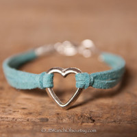 Dog Rescue Jewelry / Minimalist Jewelry / Faux Suede Cord / Turquoise / Teal / Baby Blue / Adjustable Bracelet /  Open Heart Charm