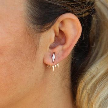 Tiny Minimalist Ear Jackets / Sterling Silver - Set of Studs and Jackets - Front Back Earrings