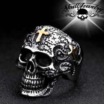 'The Old Rugged Cross' Skull Ring (554)