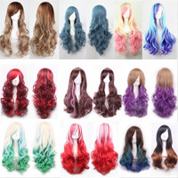 New arrival popular hot ombre color synthetic korean lolita hair wigs,long wavy kanekalon fibre womens sexy style hair wig