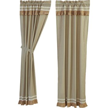 Kendra Stripe Green Panel Curtains