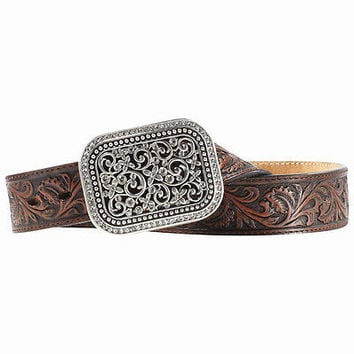 Ariat Women's Western Fillagree Rhinestone Leather Belt