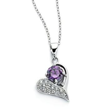 .925 Sterling Silver Rhodium Plated Open Heart Pink Cubic Zirconia Inlay Necklace 18 Inches
