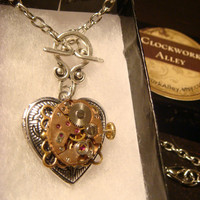 Neo Victorian Vintage Watch Movement Steampunk Heart LOCKET Necklace - Great VALENTINES DAY Gift (1554)