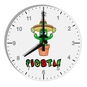 "Fiesta Cactus Text 8"" Round Wall Clock with Numbers by TooLoud"
