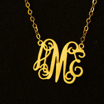 Personalized monogram necklace, 1.25 inch 18k Gold necklace, 3 initial necklace for mother women, extra size Personalized Monogram necklace