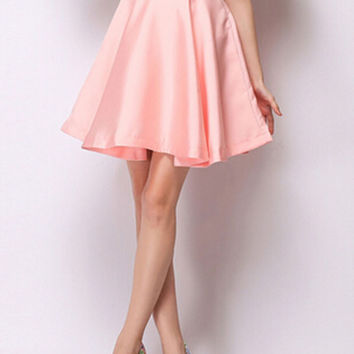 Pink High Waist Mini Skater Skirt