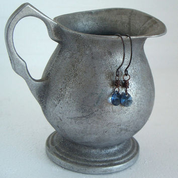 Blue Jeans Baby - Swarovski Crystal Oxidized Sterling Silver And Copper Earrings