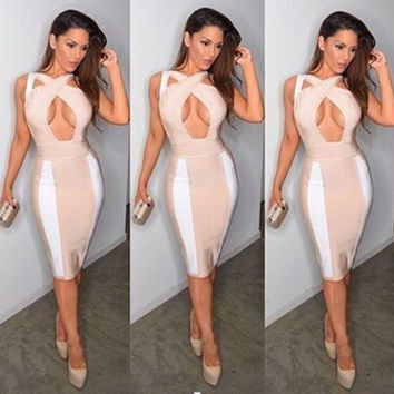 Women's Fashion Sexy Hollow Out Backless Bandages Dress [4919883716]